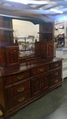 Cherrywood Chest of Drawers\/w Mirror & Storage Cabinet Attachment