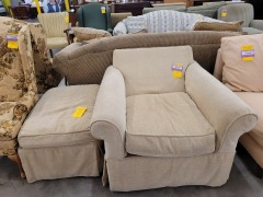 Rowe Chair & Ottoman  missing pillow back