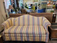 Yellow Plaid Camelback Sofa