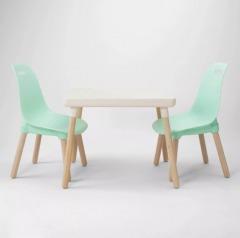 3pc Mixed Material Kids' Table Set Pine Wood Top Skykine Gray - Pillowfort\u2122