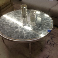 Round Silver Mirrored Cocktail Table (AS IS) - BETTER\/NEW FURNITURE