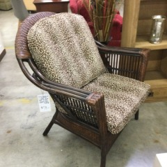 Leopard Print Dark Finish Wicker Arm Chair with Red Cushion - GENTLY USED FURNITURE