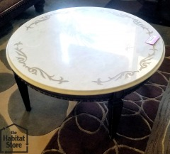 Coffee table\/marbletop with brass inlay