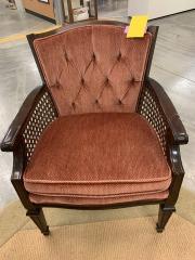 Red Velvet \/ Cane Sided Chair