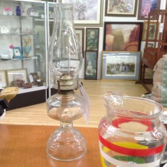 Vintage Glass Oil Lamp w\/Globe - COLLECTIBLES