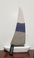 Wooden Sailboat Sculpture