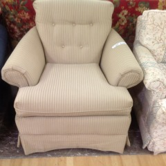 Champagne Stripe Easy Chair - GENTLY USED FURNITURE