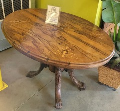 Marquetry Tilt Top Oval Table