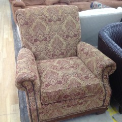Brown\/Red Paisley Chair (AS IS) - GENTLY USED FURNITURE