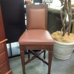 Chocolate Brown Bar Stool w\/ Wood Frame - BETTER\/NEW FURNITURE