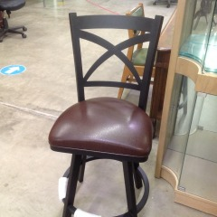 New - Black Metal Stool w\/Leather Seat - BETTER\/NEW FURNITURE