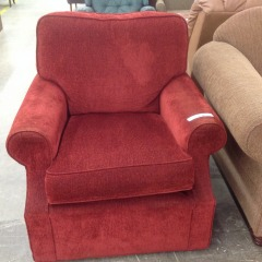 Red Plush Swivel Chair - GENTLY USED FURNITURE