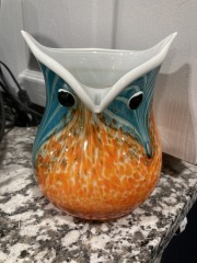 Blue & Orange Glass Owl