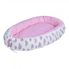 LULANDO Baby-Nest, Pink Polka Dot and Grey Clouds