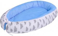 LULANDO Baby-Nest, Blue Polka Dot and Grey Clouds