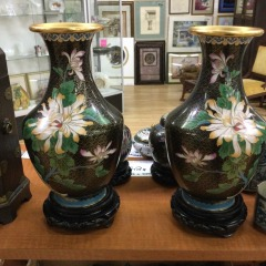 Pair of Metal Cloisonn\u00e9 Vases with Gold Design and Interior from Peoples Republic of China - COLLECTIBLES