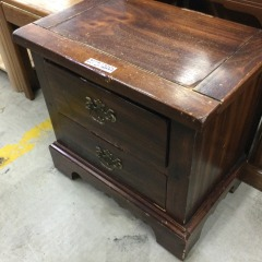Oak Finish 2-Drawer Nightstand (AS IS) - GENTLY USED FURNITURE