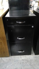 3 drawer black filing cabinet (no keys)