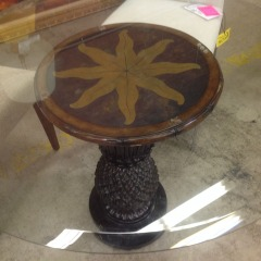 Glass Round Top Table w\/ Pineapple Wooden Base - BETTER\/NEW FURNITURE