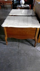 Beige Marble Top End Table