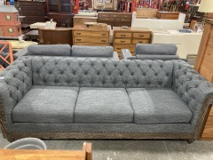 Gray Chesterfield Sofa with Wood Trim