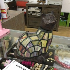 Bronze and Stained Glass Cat Light - COLLECTIBLES