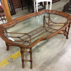 Rattan Coffee Table with Glass Top - GENTLY USED FURNITURE