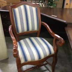 Blue Stripe Arm Chair - GENTLY USED FURNITURE