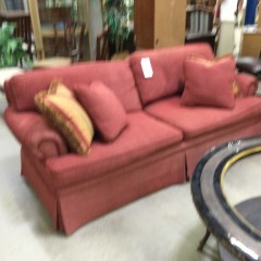 Red Corduroy Sofa with Pillows - GENTLY USED FURNITURE