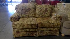 Tan Floral Accent Sofa