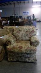 Tan Floral Accent Chair