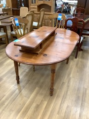 SOLID PINE DINING ROOM TABLE W\/ 2 LEAFS
