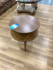 ROUND ANITQUE 2 LEVEL SIDE TABLE