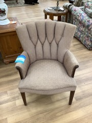 BEIGE UPHOLSTERED ARM CHAIR