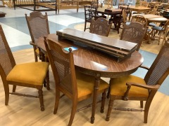 mid-century style DINING ROOM TABLE w\/3 LEAFS & 6 CHAIRS