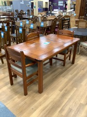 PINE DINING TABLE W\/ 3 CHAIRS