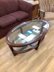 OVAL COFFEE TABLE W\/ GLASS