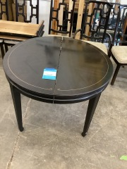 BLACK ROUND DINING ROOM TABLE W\/ MODERN DECO ACCENT