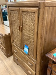 VAUGHAN 2 DRAWERE ARMOIRE W\/ WICKKER ACCENT