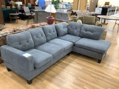 NEW GREY UPHOLSTERED L-SHAPE SECTIONAL SOFA (arm missing 1 piece of hardware)