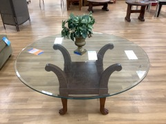 ROUND GLASS TOP COFFEE TABLE W\/ WOOD BASE