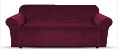 NEW 1 Piece Microsuede Velvet Touch Sofa Slip Cover - Burgundy