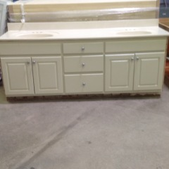 Tan Double Sink  - CABINETS