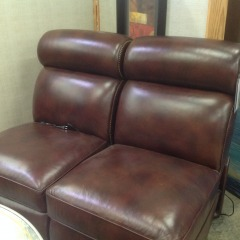 Hancock & Moore, Inc. 2-pc Leather Double Recliner (works great) - BETTER\/NEW FURNITURE