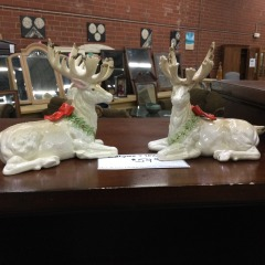 Pair of FItz & Floyd Reindeer Candleholders - COLLECTIBLES