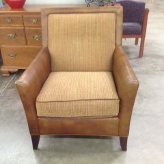 Saddle Leather Gold Fabric Lounge Chair Gently Used - BETTER\/NEW FURNITURE