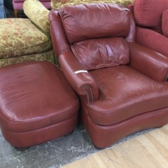 Tomato Red Leather Arm Chair and Ottoman - GENTLY USED FURNITURE