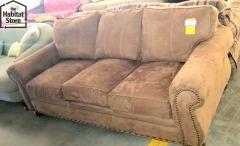 brown suade sofa
