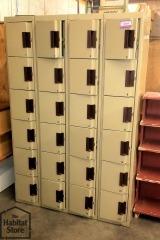 Gray Locker Unit with 24 Lockers