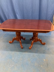 DOUBLE PEDESTAL DINING TABLE  W\/ 2 LEAVES